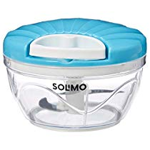 Brand – Solimo 500 ml Vegetable Chopper with 3 Blades, Blue at Rs 199 | Amazon Offer