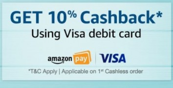 First COD order with Visa Debit or Credit Card Get 10% Cashback at Rs 900 | Amazon Offer