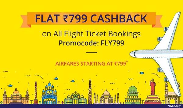 (FLY799) Flat Rs 799 cashback on flight ticket bookings on Paytm