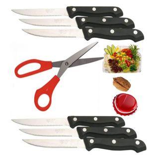 Baapoffers.com exclusive- Steel Multipurpose Scissors & 6 Pc Steak Knife Set