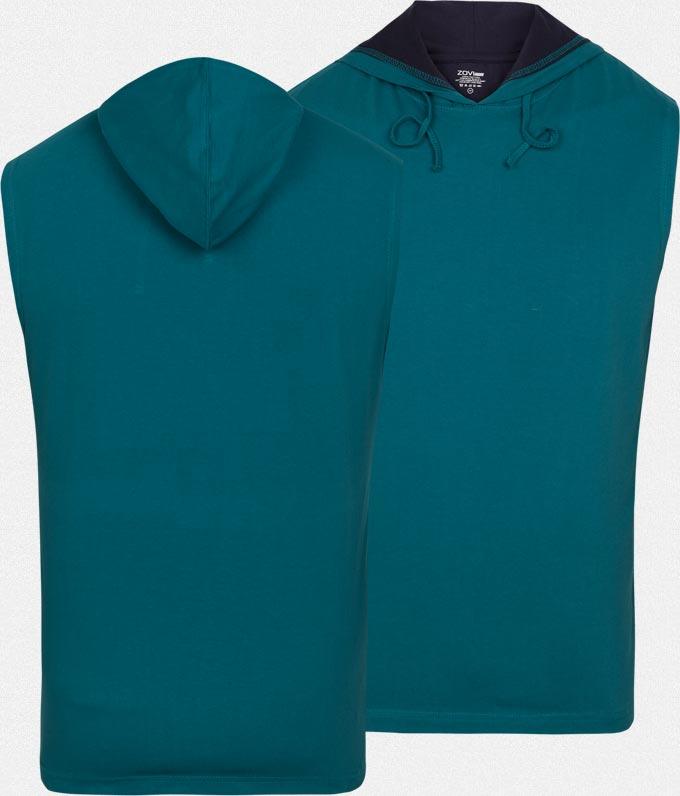 Petrol Sleeveless T-shirt With Navy Hoodie