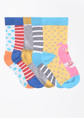 Bonjour Boy's Printed Crew Length Socks(Pack of 5)