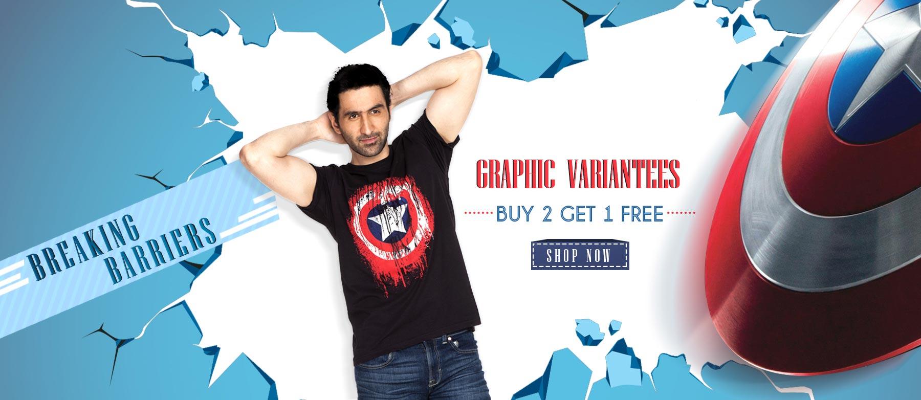 Buy 2 Get 1 Free Graphics T-shirts (Price Starts @ 199 )