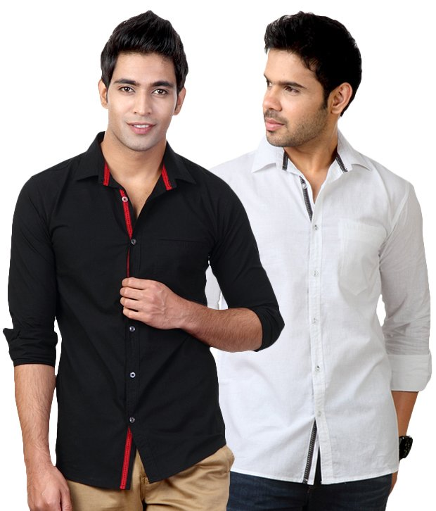 Pack of 2 White-Black Shirts at Rs 614. for February 2018 ...