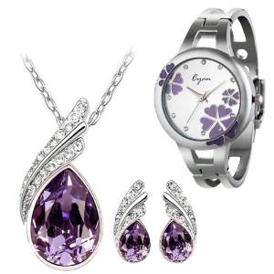 Crystal Set With Bracelet Watch Combo for Girls