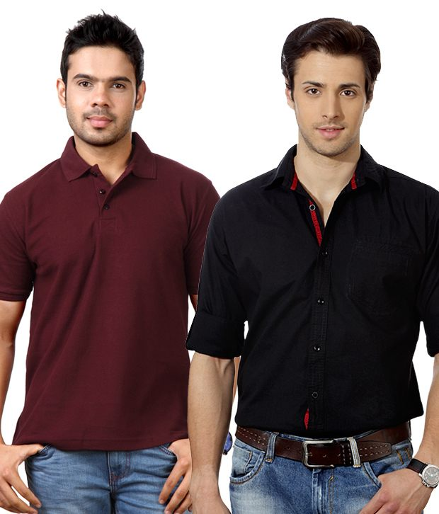 Get Black Shirt and Maroon Polo Combo