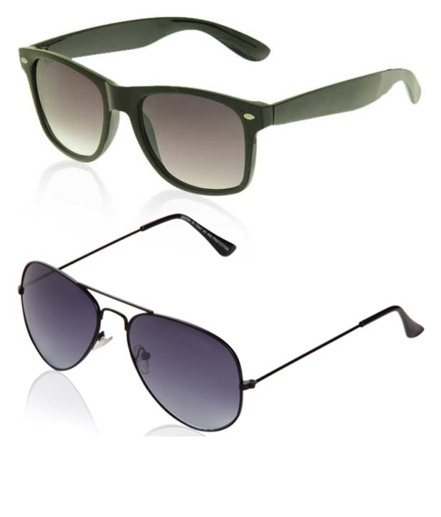 Buy Just Colours Blue Aviator & Brown Wayfarer Combo at just Rs 399/-