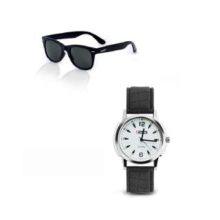 Combo of Black Aviator Sunglasses And Black Watch at Rs 299.