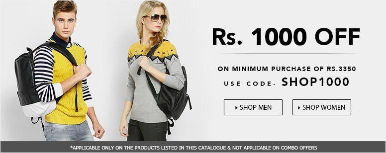 1000 off on minimum purchase of Rs.3350 on selected styles- Jabong Coupons