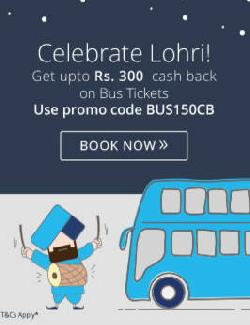 Upto Rs300 cashback on bus ticket orders of Rs 600- Travel from 12 to 16 Jan