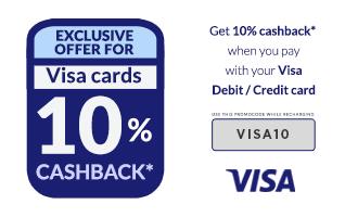 Freecharge Exclusive offer for Visa Cards 10% Cashback