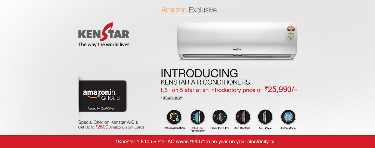 Kenstar Air Conditioners at Best Price + Amazon Gift Card worth Rs 2500 Free : EMI Available