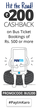 Bus Tickets India: Rs 200 Cashback on Booking on Rs 500 & Above.