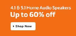 Flipkart upto 60% off on Home audio speakers  + Extra 5% Off