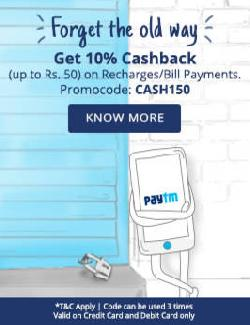 Paytm Get 10% Cashback on Recharge & Bill Payments