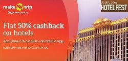 Get Flat 50% Cashback on Hotel Bookings at Makemytrip.