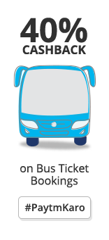 Paytm Get 40% (upto Rs 2​50) C​ashback​ on Bus ticket bookings of Rs 200 or more