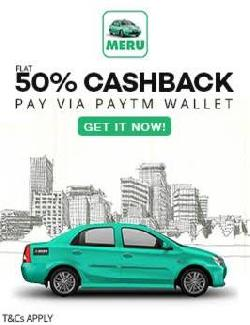 Paytm Get 50% cashback maximum upto Rs.100 on 1st payment made through Paytm Wallet on Meru Cabs App