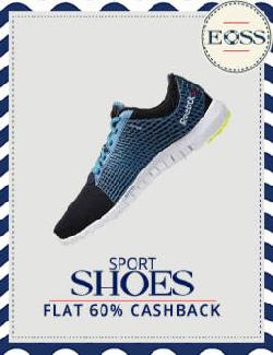 Flat 60% Cashback on Sports Shoes