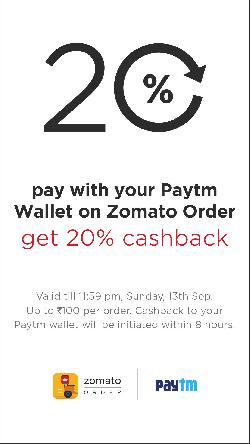 Get 20% Cashback on Zomato: Weekend Food Offers.