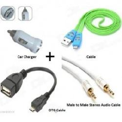 Charging Cable For Mobile + Car Mobile Charger + Audio Cable for Rs. 99 Free Shipping.