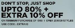 Jabong upto 80% Off + Extra 10% Off