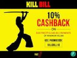 10% cashback on Electricity & Gas Bill Payments of minimum Rs.300
