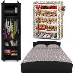 70% OFF Queen Bed Set with 2 Door Wardrobe & Free Shoe Rack at Rs 13999.