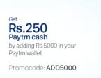 Paytm Get Rs 250 cashback on adding 5000 in your paytm wallet