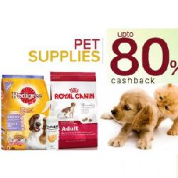 Upto 80% Cashback Pet Food & Accessories: See Details for Coupons.