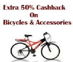 Bicycles and Accessories at 50% Cashback: Cycle Offers.