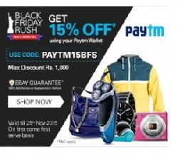 15% OFF on All Product Purchases at eBay (PAYTM15BFS)