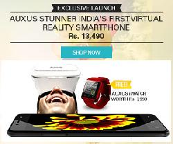 Auxus STUNNER Smartphone Rs 13490 + Smartwatch worth Rs 7990 FREE
