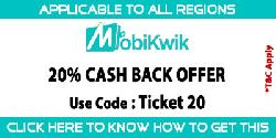 Get 20% cashback on paying with MobiKwik wallet on Movie ticket booking