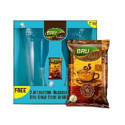 Bru Gold, 50g with 2 Glasses Free at Rs 115 + Tip to Get Free Shipping Inside