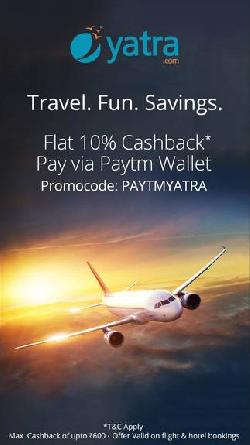 Get 10% cashback up to Rs 500 Paytm cashback (within 24 hours) in your Paytm wallet on domestic flig