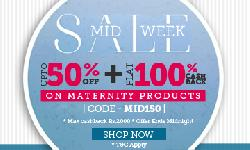 Upto 50% Off + Flat 100% Cashback on Maternity Products on Babyoye