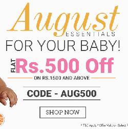 Essentials for your baby, Flat Rs 500/- Off On Rs 1500 and above