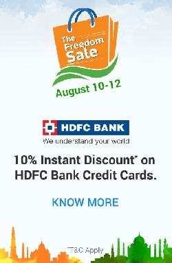 Flipkart - The Freedom Sale (10th-12th August), 10% instant discount on HDFC Bank Credit Cards