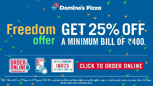 Dominos Freedom Offer - Get 25% Off On Min Bill of Rs 400/-