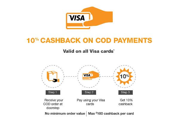 10% Cashback on COD Orders from Amazon, Pay Via Visa Cards.