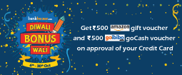 Bankbazaar Free Amazon Voucher | Apply for Credit Card & Get Free Rs 500 Amazon Card + Rs 500 Goibib