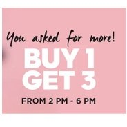 2 PM - 6 PM Buy 1 Get 3 Free On Clothing & Accessories | Jabong Offer