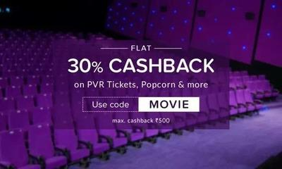 30% Cashback on PVR movie tickets, popcorn and many more Coupon -MOVIE at Nearbuy.