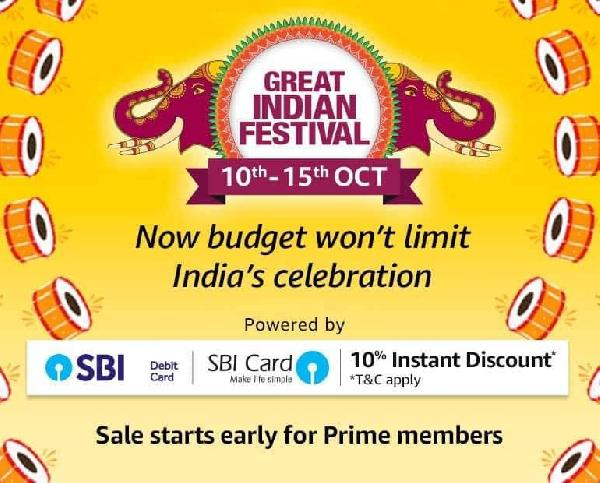Amazon Great Indian Sale 10th-15th October 2018 + 10% Cashback with SBI Bank Cards