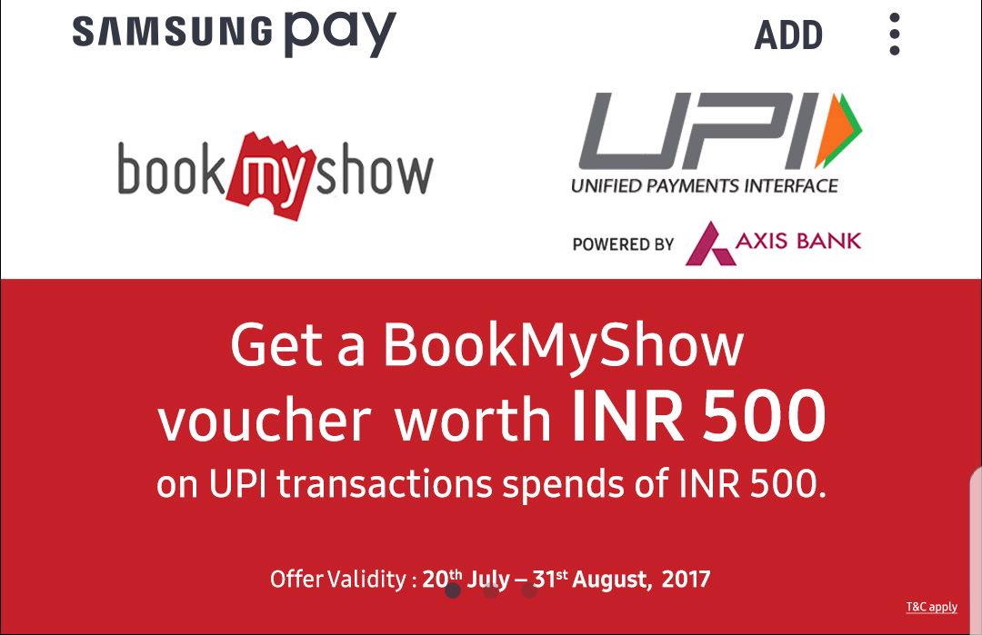 BookMyShow Voucher worth 500 Free on doing UPI transactions of 500 | Samsung Pay Offers -Baapoffers.
