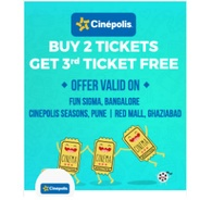 Buy 2 Movie Tickets & Get 1 Ticket Free | Bookmyshow Offer