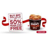 Buy 6 Pcs Of Smoky Grilled And Get 3 Pcs Free | KFC Offer