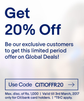eBay Citi Bank Offer -Get 20% OFF on eBay Global Deals.