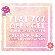 Flat 70% OFF + Get Voucher Worth Rs.200 on Next Purchase Of Kids Apparels | Jabong Offer